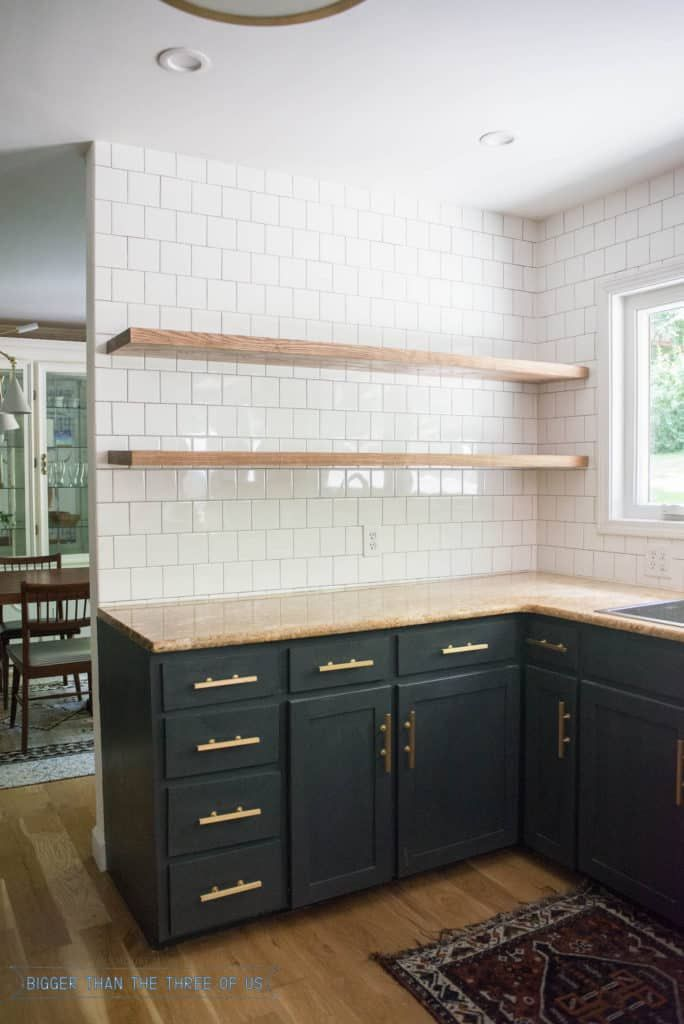 Height Of Floating Kitchen Shelves Diy Kitchen Renovation Floating Shelves Kitchen Kitchen Remodeling Projects