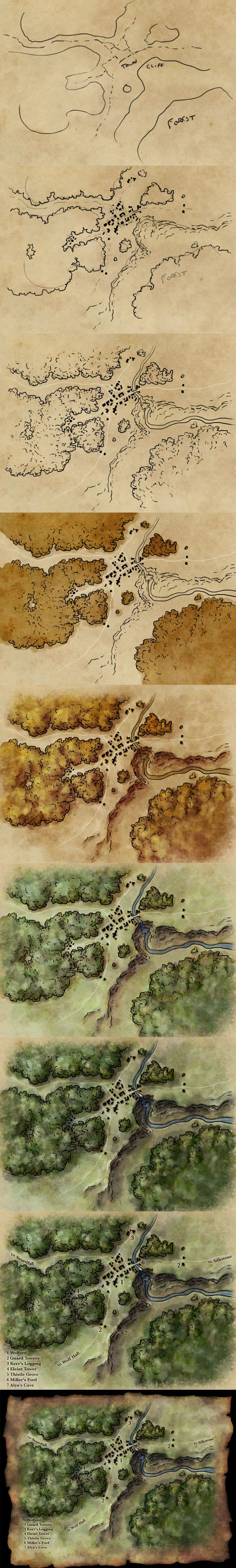 How to draw a map tutorial: http://www.fantasticmaps.com/2015/02/how-to-draw-a-map/  Here's all the stages of a map in one go: • sketch • inked outlines • detail lines • basic tones • light and shade • colour • detail light and shade • labeling • polish
