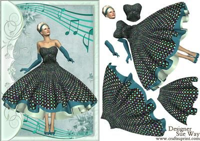 1950 s Rock and Roll Beauty Decoupage on Craftsuprint designed by Sue Way - A pretty lady in a 1950's style dress, with a flared skirt