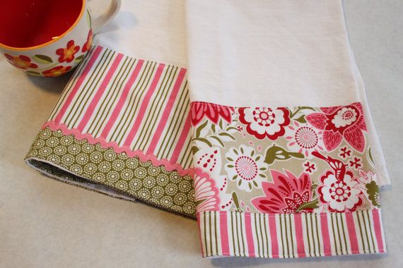 Floral Tea Towel, pink and olive kitchen by CozyByChristine.com