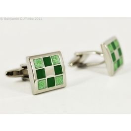 Nine Panel Green Cufflinks - Nine squares in shades of green