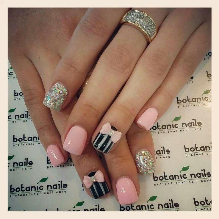 Pink bows | 《Nails》 | Pinterest | Pink bows and Short nails