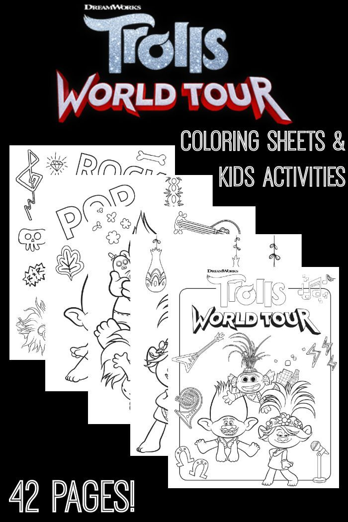 Free Trolls World Tour Coloring Sheets And Kids Activities In 2020 Coloring Pages For Kids Coloring Sheets Coloring Pages