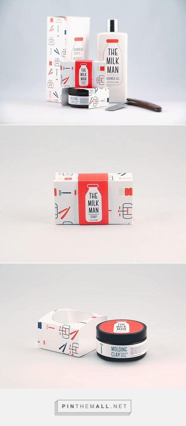 Graphic design and packaging for The Milk Man, Men's Grooming Products on Behance by Victoria Kosecki Toronto, Canada curated by Packaging Diva PD. Cute concept for men's grooming products.