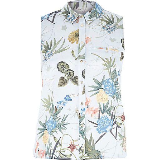 Verde estampado floral sin mangas de la camisa - blusas / camisas - partes de arriba - las mujeres