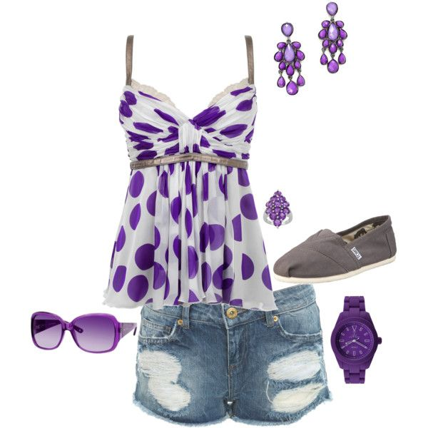 You know the purple draws me in every time...I think I would wear capris or jeans and some kind of cardi or jacket with it though.  #summer outfit
