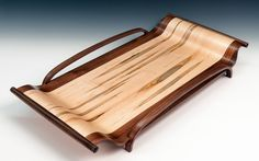 Wood serving tray, tray with handles, coffee table tray, housewarming gift, wedding gift, exotic wood, kitchen tray, wooden tray by FineWineCaddy on Etsy https://www.etsy.com/listing/185317908/wood-serving-tray-tray-with-handles