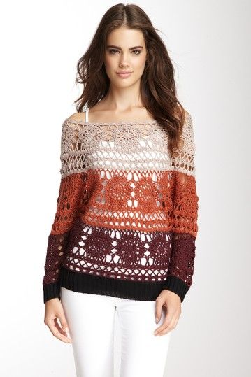 Hazel Cotton Blend Crocheted Pullover