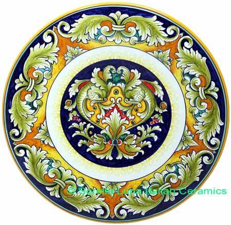 Ceramic Majolica Plate Delfini Blue Brown Red 739 30cm