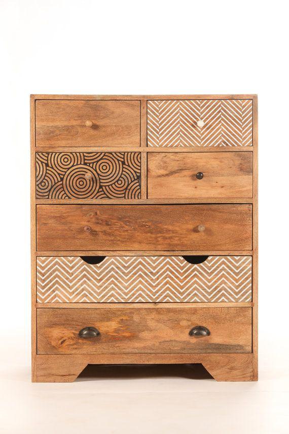 Commode design 7 tiroirs bois imprimé