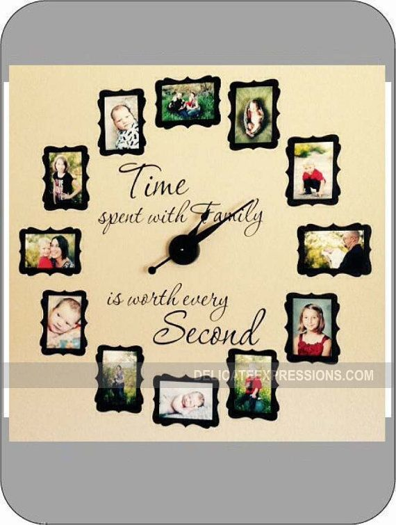 THIS PRODUCT INCLUDES:    (1) Vinyl Clock Decal - Time spent with Family is worth every Second Features decorative mats for your photos (acts