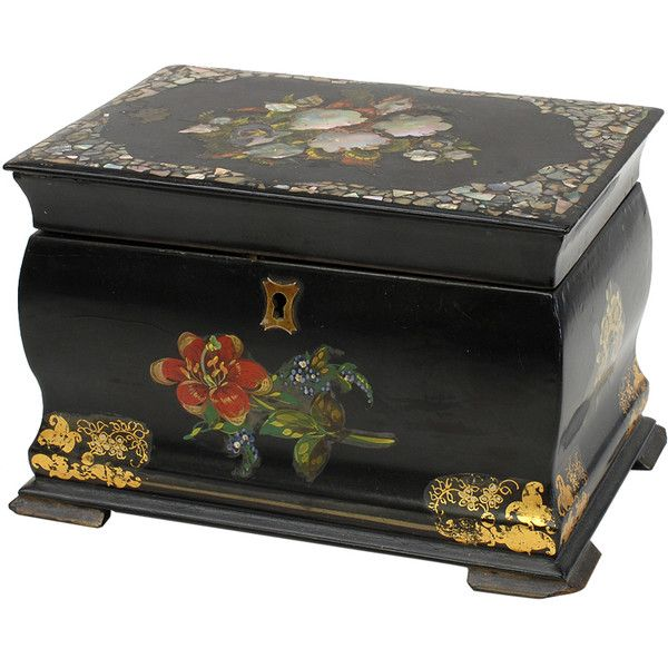 Antique English Papier Mache Tea Caddy at 1stdibs (14,670 MXN) ❤ liked on…