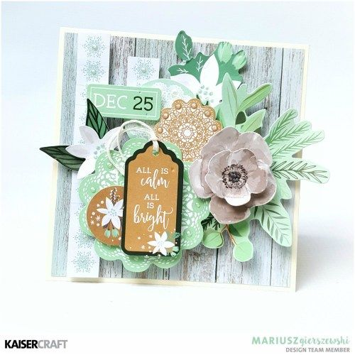 """Kaisercraft October 2017 Blog Challenge!  Card """"All is Calm All is Bright""""  by Mariusz Giersszewski Design Team member for Kaisercraft official Blog. Mariusz has used the New October """"Mint Wishes"""" collection to create this beautiful card. Learn more at kaisercraft.com.au - Wendy Schultz - Kaisercraft Projects."""