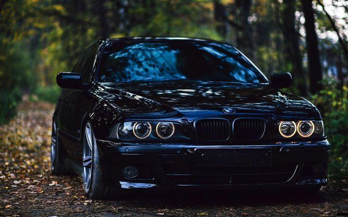 Download Hintergrundbilder BMW M5, Park, E39, Tuning, BMW 5er, deutsche Autos, schwarz … –