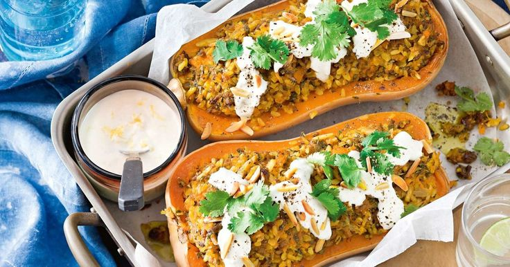 This budget-friendly dinner of stuffed butternut pumpkin is a tasty way to feed your family.