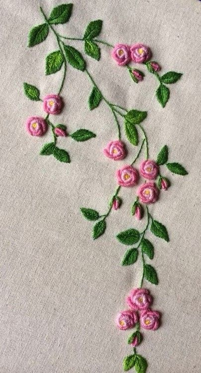 Flower, bullion stitch embroidery More