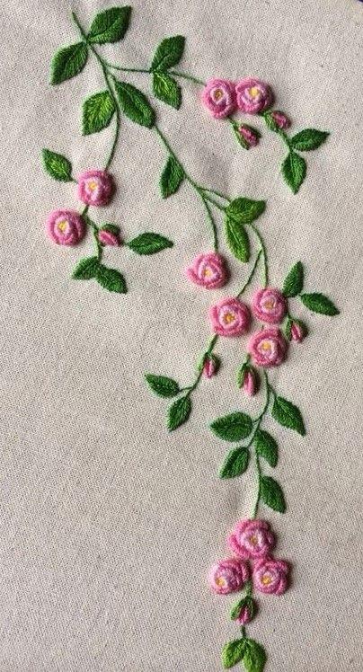 Flower, bullion stitch embroidery