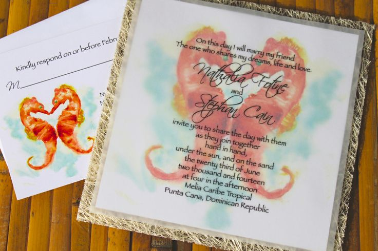 Seahorse Love Wedding Invitations.  Adorable and reminds me of the islands... www.designsbylenila.com