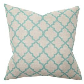 "This charming pillow offers plush style for your favorite chaise, settee, or wingback.    Product: PillowConstruction Material:  Linen cover and down fillColor: TurquoiseFeatures: Insert includedDimensions: 22"" x 22"""