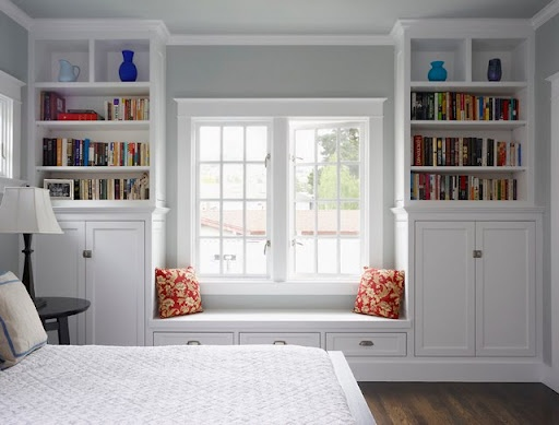 My Master Bedroom -but closets instead of open shelves; maybe some buit-in drawers near the bottom. Probably wouldn't even need a dresser!