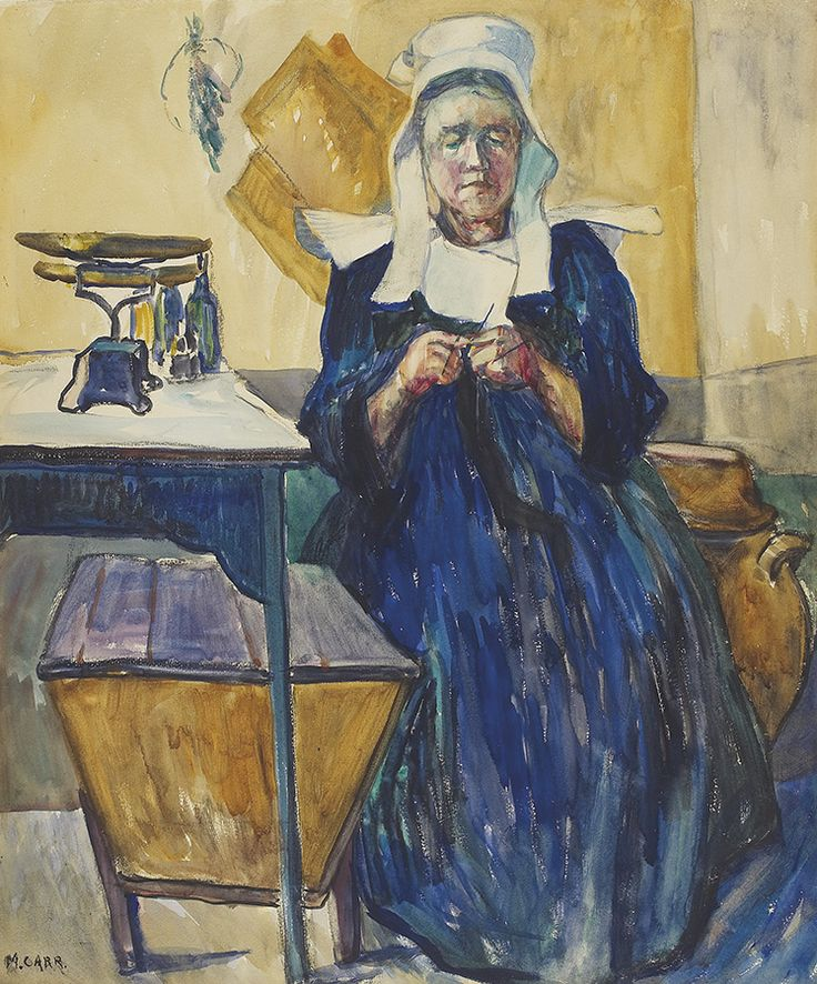 "While outside Paris, Emily Carr worked ""en plein air,"" in the fields or woods and sometimes in the homes of cottagers, from morning until dark, creating images of rural life in Brittany. ""French Knitter (La Bretonne),"" 1911, private collection."