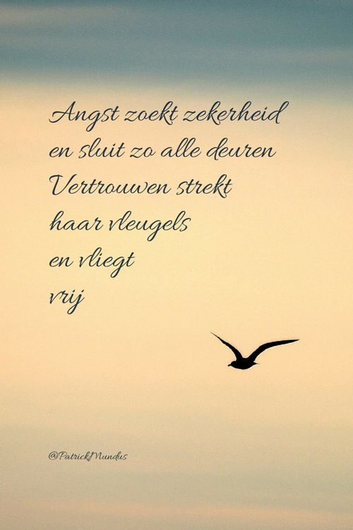 Angst zoekt zekerheid en sluit zo alle deuren. Vertrouwen strekt haar vleugels en vliegt vrij...