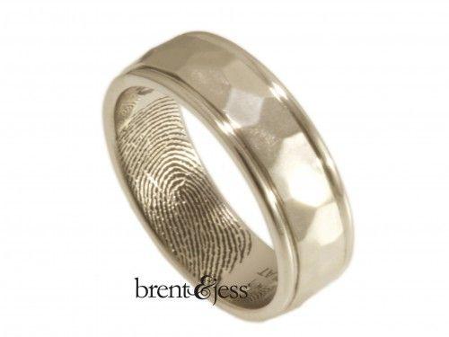 Hammered Band with Hand-Carved Rims Fingerprint Wedding Ring in 14k White Gold - Custom handmade fingerprint jewelry by Brent&Jess