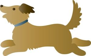 Running Clipart Image - A playful dog running to play a game of fetch