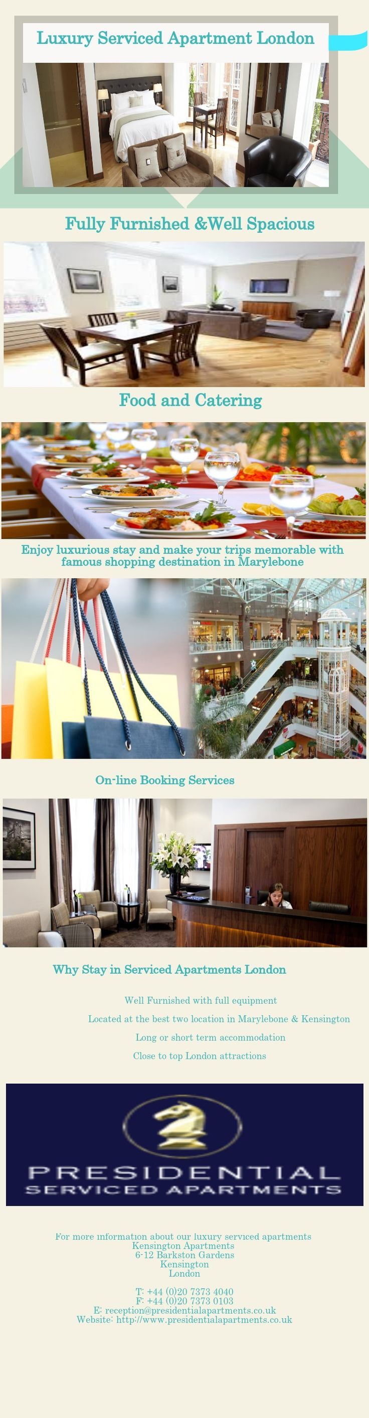Enjoy luxurious stay and make your trips memorable in Presidential serviced apartments London  .