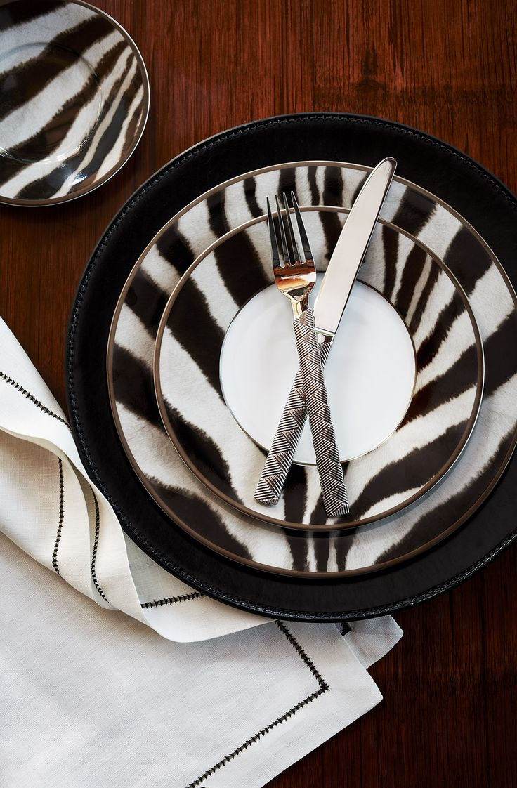 The bold, spirited and elegant Ralph Lauren Home Kendall zebra-print tabletop.