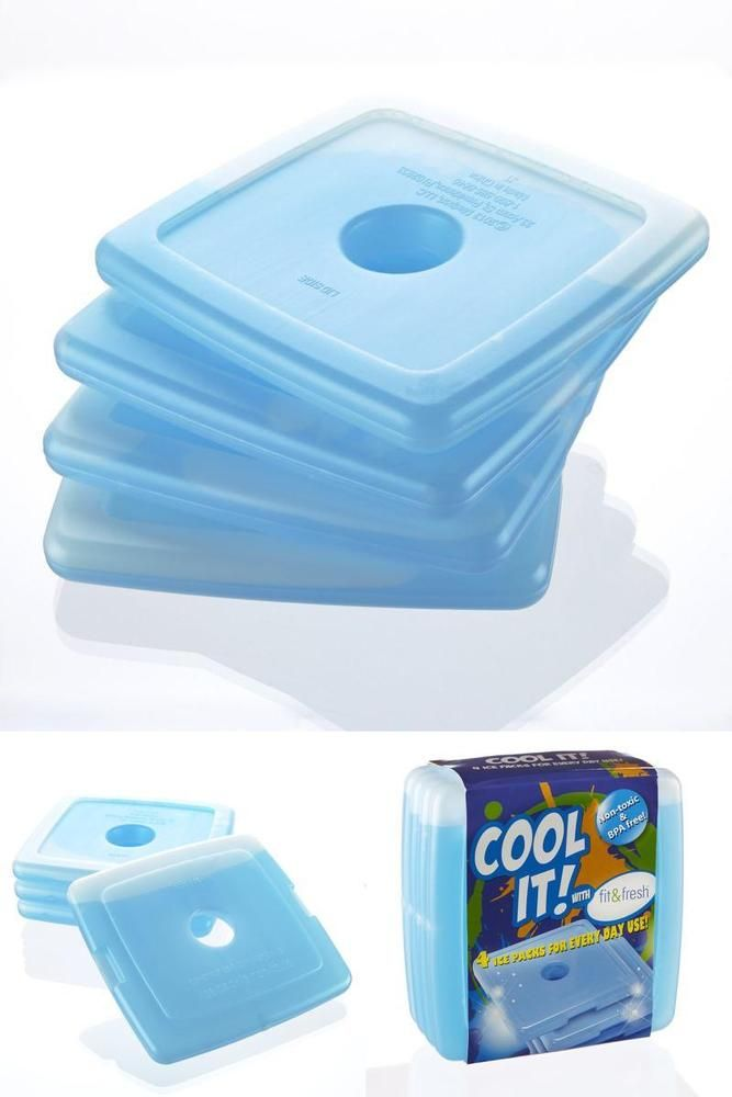 Slim Reusable Ice Packs for Lunch Boxes And Coolers Set Of 4 Blue BPA-free New #FitFresh