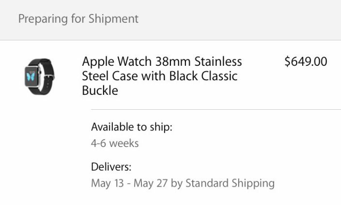 Apple Watch orders with May & June ship dates being charged, preparing for delivery (U: Apple statement)