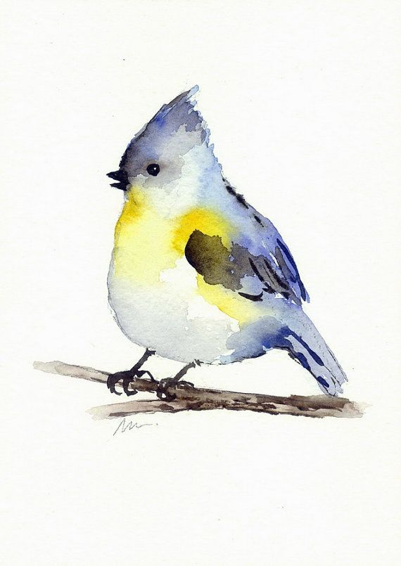 Original Vogel Aquarell Meise Malerei Vogel Illustration Tier
