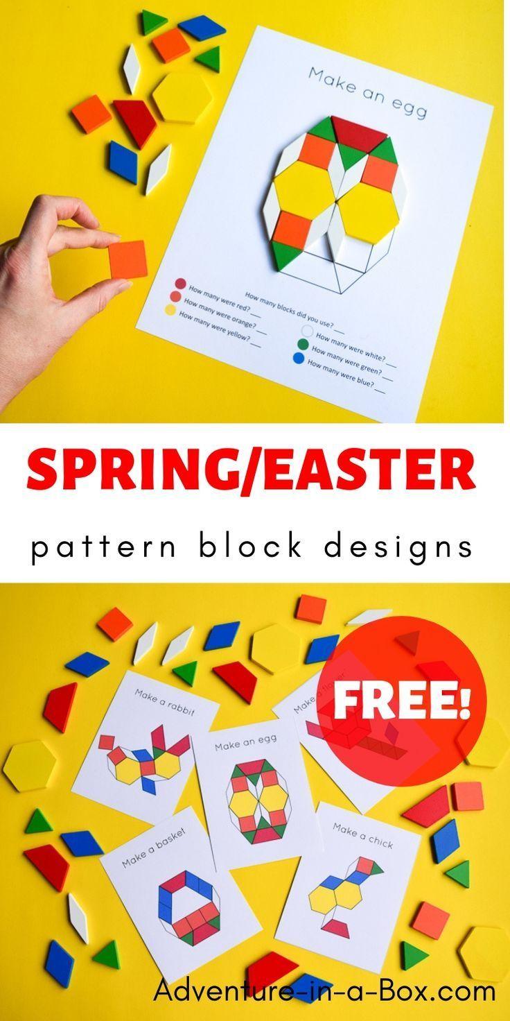 Easter Spring Pattern Block Design Templates Pattern Blocks Spring Kindergarten Stem Centers [ 1472 x 736 Pixel ]