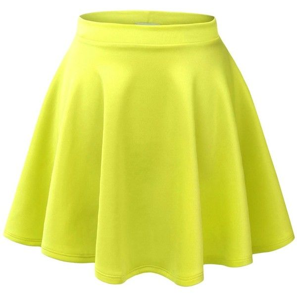 Made By Johnny Women's Basic Versatile Strechy Flared Skater Skirt ($8.99) ❤ liked on Polyvore featuring skirts, bottoms, saias, faldas, circle skirt, flared hem skirt, flare skirt, skater skirt and yellow skirt