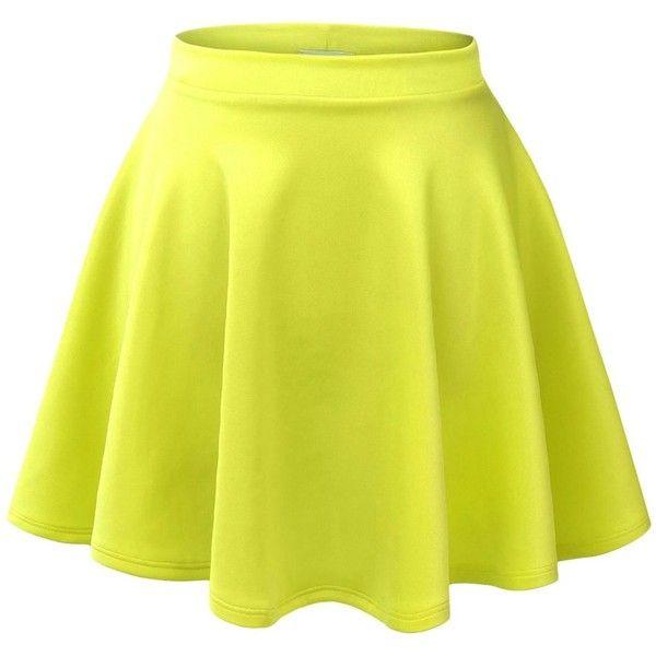 Made By Johnny Women's Basic Versatile Strechy Flared Skater Skirt (£6.08) ❤ liked on Polyvore featuring skirts, bottoms, saias, faldas, flare skirt, yellow skater skirt, circle skirt, flared skirt and yellow skirt