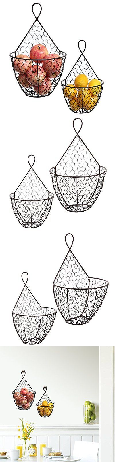 Wall Pockets 115979: (Set Of 2) Wall Mounted Brown Country Rustic Style Chicken Wire Metal Baskets -> BUY IT NOW ONLY: $47.56 on eBay!