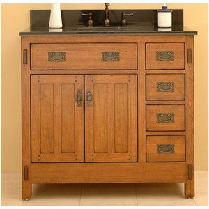 Delightful Vanity For Guest Bathroom? Sagehill Designs Rustic Oak American Craftsman  36 Oak Wood Vanity Cabinet With Two Doors From The American Craftsman  Collection
