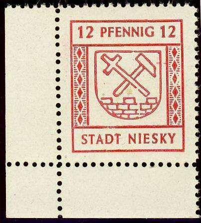 German Local Issue, Niesky 1945, 10 Pfg. aus der linken unteren Bogenecke, postfrisch Pracht (postfr., Mi.-Nr.4/Mi.EUR 100,--). Price Estimate (8/2016): 30 EUR.