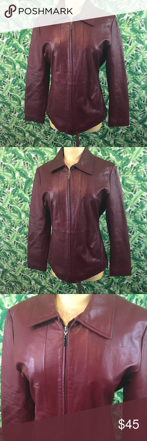 Wilsons leather Pele studio maroon jacket Medium 100% leather maroon wilsons pele studios jacket. Size medium. Previously owned no tears holes or stains. Bust measures 20 inches across armpit to armpit 16 across at waist Wilsons Leather Jackets & Coats