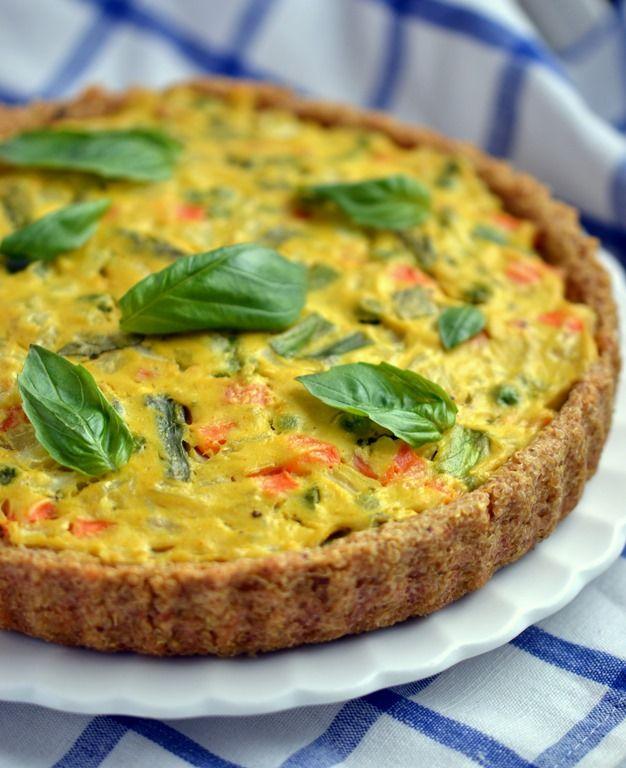 Vegan Asparagus & Fennel Quiche (with Quinoa Crust)