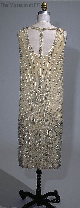 Chemise Dress - c. 1925 - Made in USA - Silk chiffon with rhinestones, seed and bugle beads~ Collection of The Museum at FIT