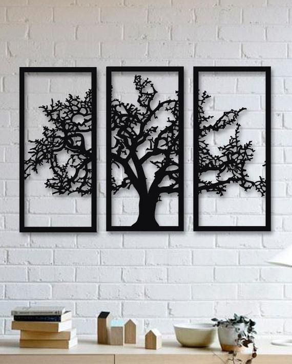 Tree Of Life 3 Pieces Metal Wall Art Modern Rustic Wall Decor Living Room Home Decor Speci In 2020 Metal Tree Wall Art Black Metal Wall Art Tree Wall Art Diy