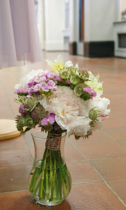 Hand-tied bridal pink and cream bouquet of British-grown flowers - perfect for the eco-friendly bride. Peonies, Sweet William, astrantia and alstroemeria. Florissimo, Shropshire
