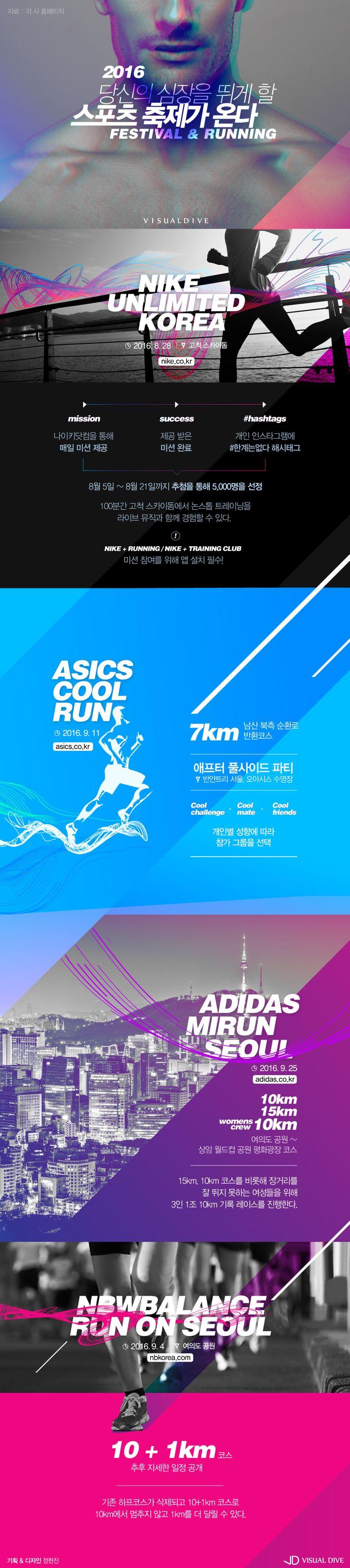 당신의 심장을 뜨겁게 만들어줄 2016 스포츠 축제 [인포그래픽] #running / #Infographic ⓒ 비주얼다이브 무단…