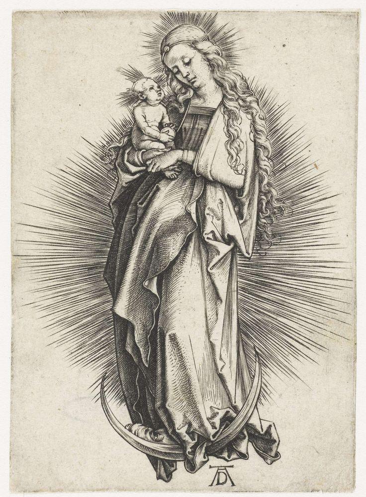 Albrecht Dürer   Maria met kind op de maansikkel, Albrecht Dürer, 1497 - 1501   Maria met lang krullend haar, staand op een maansikkel, omgeven door een stralenkrans, het Christuskind op de rechterarm.