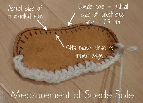 Adding suede soles to crocheted slippers. ༺✿Teresa Restegui http://www.pinterest.com/teretegui/✿༻