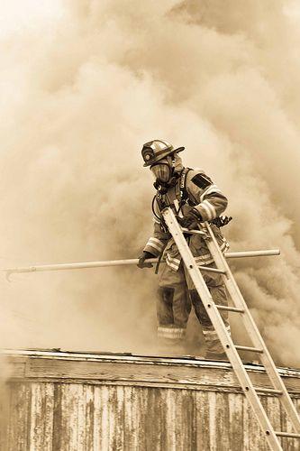 Dan Ballard Photography as a volunteer firefighter - on the roof
