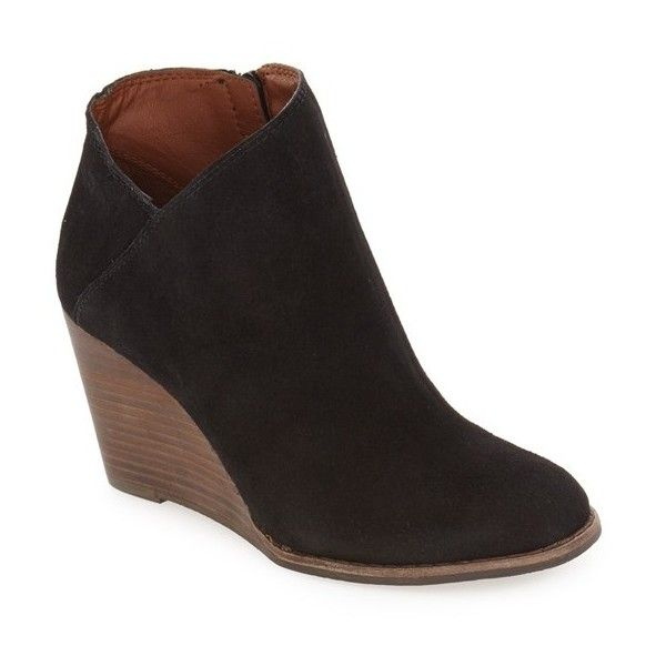 Women's Lucky Brand 'Yakeena' Zip Wedge Bootie ($99) ❤ liked on Polyvore featuring shoes, boots, ankle booties, black suede, suede ankle boots, black suede bootie, black suede booties, black wedge boots and black wedge booties
