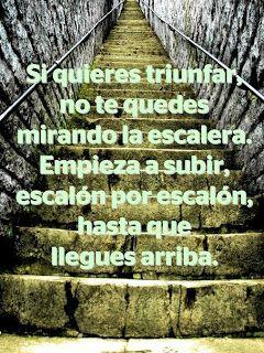 Si quieres triunfar, no te quedes mirando la escalera. Empieza a subir, escalón a escalón, hasta que llegues arriba. #citas